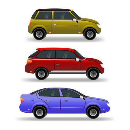 Flat cars set. Urban, city cars and vehicles transport vector flat icons. Easy to edit and recolor.