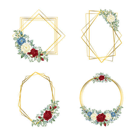 Gold Frames set. Geometric crystal stone polyhedron. Botanical template with golden frame and flowers for invite, greeting and covers, poligraphy Ilustracja