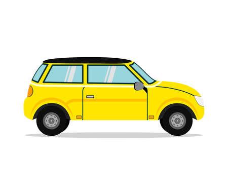 Yellow Car. Business sedan isolated. Vehicle branding mockup.