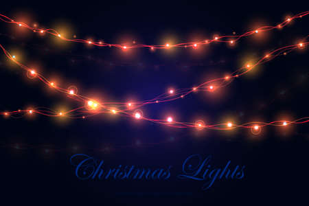 Christmas lights background. Set of color garlands, festive decorations. Xmas Ilustracja