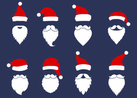 Santa hats, mustache and beards collection. Christmas elements for greeting design. New Year.