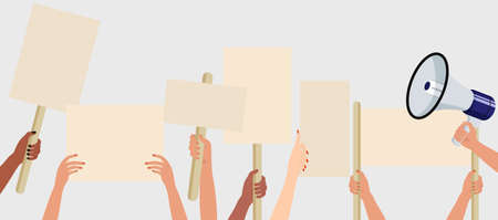 People holding signs, banner and placards on a protest demostration or picket. Crowd of people protesters. Election campaigning vector concept.