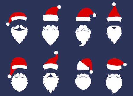 Santa Klaus fashion silhouette flat style. Christmas elements for greeting design. New Year. Santa hats, mustache and beards.