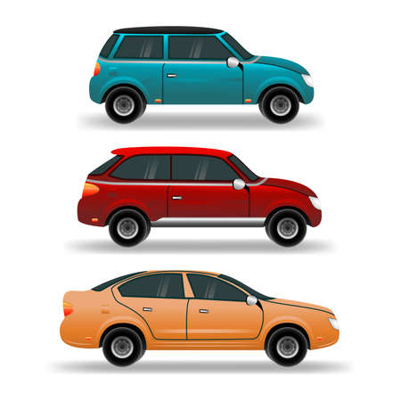Flat cars set. Urban, city cars and vehicles transport vector flat icons.