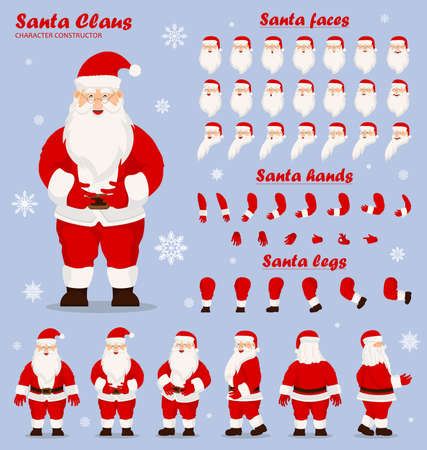 Mascot creation kit of christmas character. Santa in different keyframes. Santa Clause constructor or DIY kit. Collection of Christmas cartoon character body parts, clothes, holiday attributes