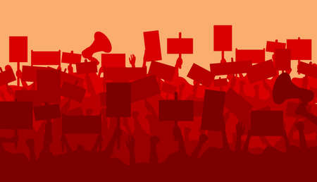 Silhouette of cheering or riot protesting crowd with banners. Protest, revolution, conflict. Flat vector illustration.