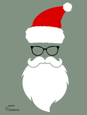 Santa hat, moustache and beard. Christmas elements. Merry Christmas. Vector illustration EPS10