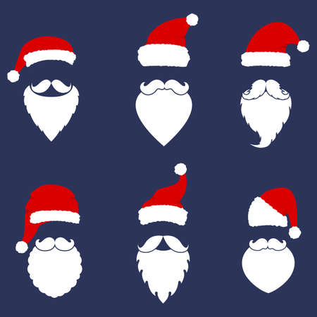 Santa hats, moustache and beards collection. Christmas elements for your festive design. Ilustracja