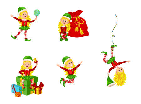 Christmas elfs kids vector children Santa Claus helpers cartoon elfish girls. Girl elves with green costume holding gifts and playing. Vector illustration EPS10 Ilustracja