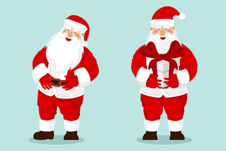 Collection of Christmas Santa Claus. Cute Father Frost stand with gift bag, raise his hands up and welcomed. Ilustracja