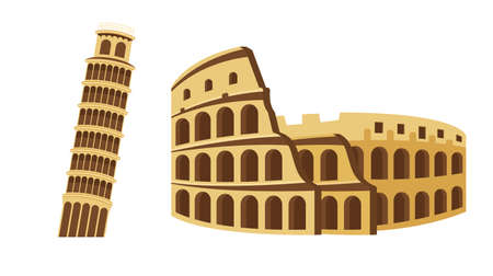Colosseum and Leaning Tower of Pisa Tourist attraction set. Travel, journey concept. Famous monuments of world countries.  Ilustracja
