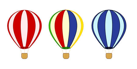Hot Air Balloons. Flying transport with wings and flags, ballast on basket and striped balloon. Ilustracja