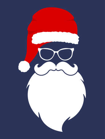 Santa hat, moustache and beard. Christmas elements. Merry Christmas. Ilustracja