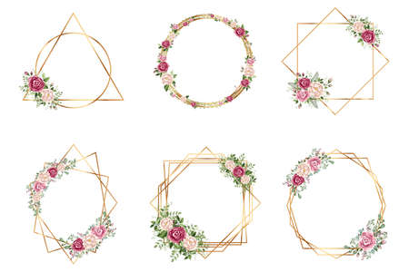 Botanical Gold geometrical polyhedron wedding invitation deco style design. You can put leaf or flower on top or bottom for make elements in romantic theme