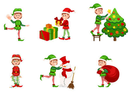 Christmas elf vector character set. Boy elves with green costume holding gifts and playing. Bundle of little Santa's helpers holding holiday gifts and decorations.