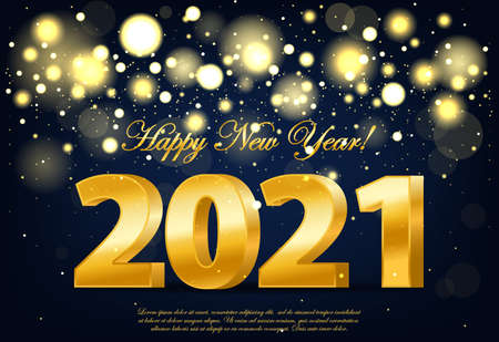 Happy new year 2021 banner with golden luxury lights. Realistic 2021 golden numbers. New year ornament. Decoration element with tinsel
