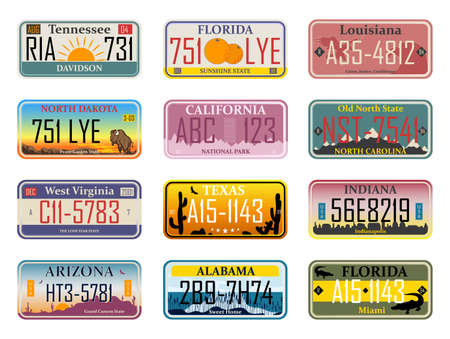 Abstract USA states license plates. Bundle of various vehicle registration signs or automobile identifiers in elegant vintage style. Metal sign boards automobile plates with digits and letters,