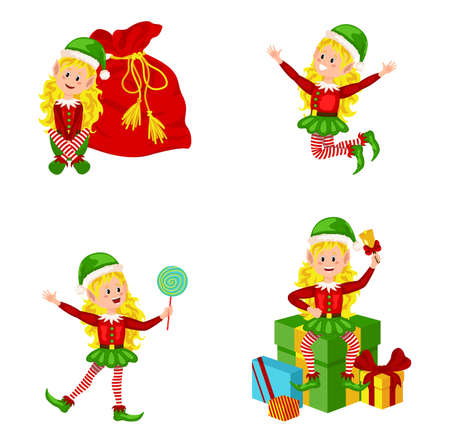 Set of cute playful Christmas elves. Collection of cute Santa Claus helpers. Merry Xmas design element. New Year Ilustracja