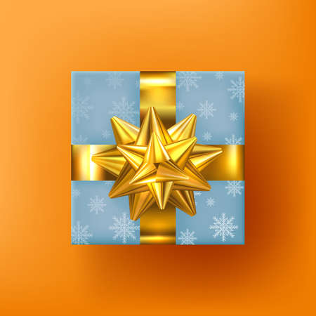 Gift box with golden bow and ribbon. Realistic gift. Lots of presents. Merry Christmas. Xmas