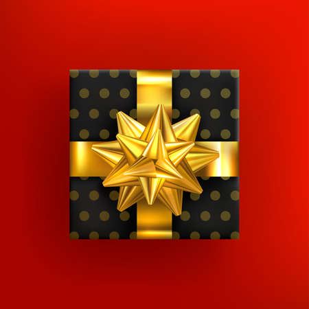 Gift box with golden bow and ribon. Realistic gift. Birthday or anniversary present. Christmas present box. Xmas