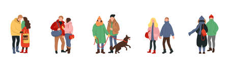 Set of cartoon people in winter clothes. Crowd of tiny people dressed in winter clothes or outerwear walking and performing outdoor activities. Ilustracja