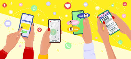Concept hand hold mobile phone. Communication concept on white background. Social networking concept. Vector illustration EPS10
