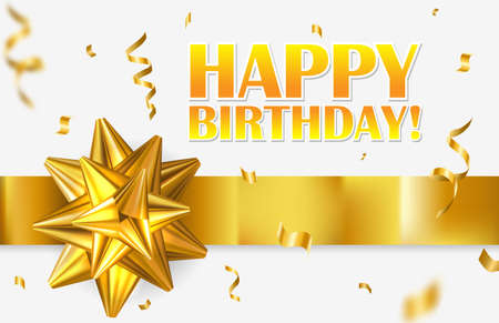 Happy Birthday celebration design for greeting card with gold ribbon bow and golden confetti. Фото со стока - 158106204