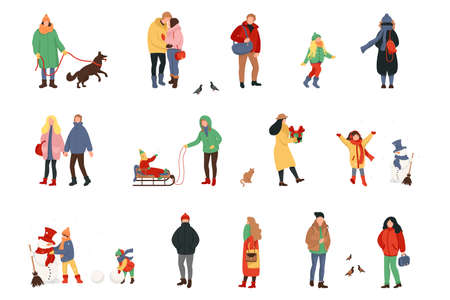 Set of cartoon people in winter clothes. Including various lifestyles and ages. Crowd of tiny people dressed in winter clothes or outerwear walking and performing outdoor activities.