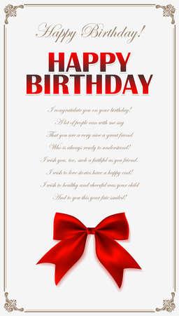 Happy birthday invitation card with red bow in farme. Birthday greeting card design. Happy Birthday congratulatory text Vettoriali