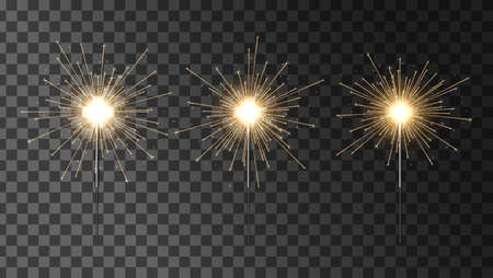 Bengal fire vector set. Set of sparklers. Festive Christmas sparkler decoration lighting element. Magic light isolated effect. Фото со стока - 157919908