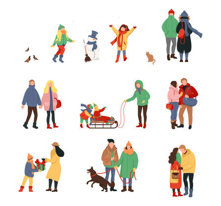 Happy winter activities with family, Christmas celebration. Cold season, skate on ice rink and making a snowman, skiing. Women men children in outerwear performing outdoor activities.