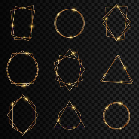 Gold collection of geometric frame. Glitter sparkle trail effect on dark transparent background. Decorative element for logo, branding, card, invitation.