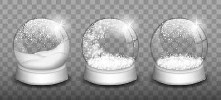Empty snowballs. Snow globe, spherical shape glossy dome. Vector glass snowballs with christmas white snow and falling snowflakes.