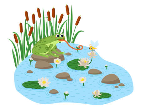 Cartoon style frog seamless pattern. Happy frog sit. Vettoriali