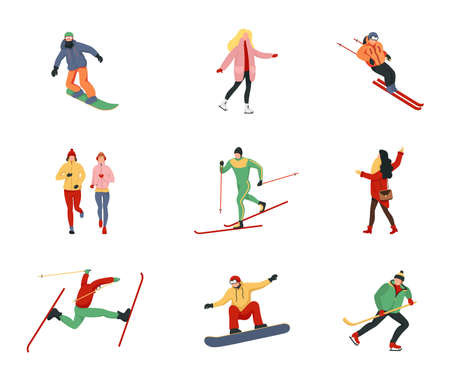 Collection of male and female cartoon characters performing winter activities. Adult people and children dressed in winter clothing snowboarding and skiing.