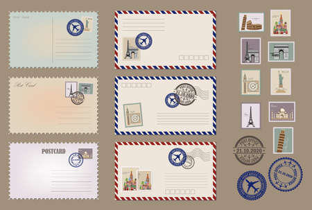 Modern collection of love and friendship letter designs. Vintage postcard designs and postage stamps. Envelopes and postcards set