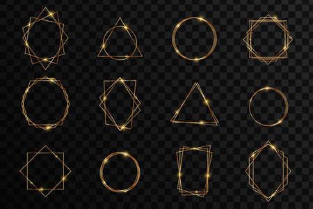 Set of crystal shiny design elements. Sparkling golden frame light effect. Spark with ring glossy line.
