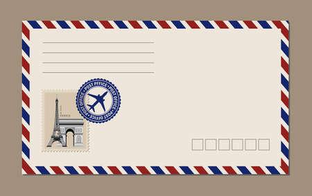 Vintage postcard designs, envelopes and stamps. Eiffel Tower postcard.