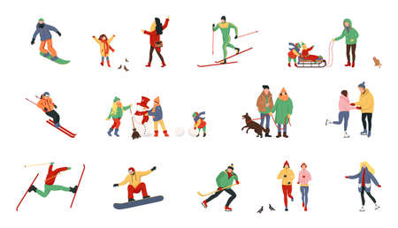 Adult people and children dressed in winter clothing snowboarding and skiing. Winter time. People on the ice rink playing hockey and performing outdoor activities.