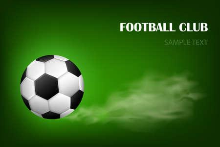 Flaming soccer ball 3d vector poster for football sport game. Flying soccer ball with shine motion blur Vettoriali