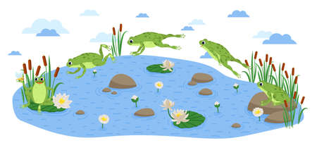 Jumping Frog. Happy frog sit and jump clip art, different pose. Set of green frog and water lily Vettoriali