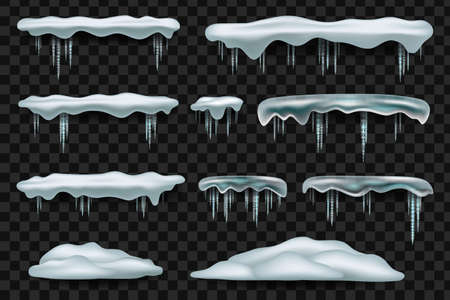 Snow caps and icicles. Snowball and snowdrift vector winter decorations isolated. Illustration of snowball effect, frost snowcap Фото со стока - 158062843