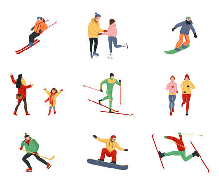Collection of women and men performing winter activities skiing, snowboarding, ice skating, mountaineering. Outerwear skiing, ice skating, snowboarding, playing hockey.