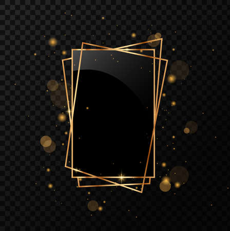 Gold geometrical polyhedron with black mirror. Isolated on black transparent background.