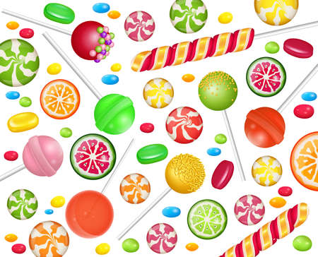 Colorful sweets set - hard candy, candy canes, jellies. Template for confectionery,shops,banner,poster,advertise.Vector