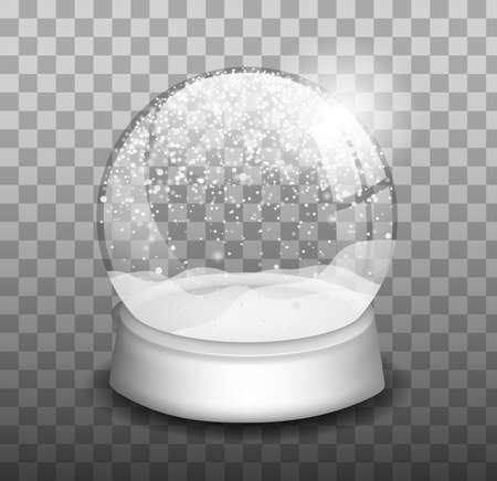 Realistic colored snow globe composition. Spherical and bell shaped, empty snowball.