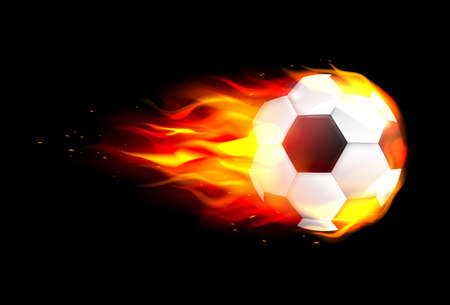 Flaming soccer ball flying against on fire flying through the air.