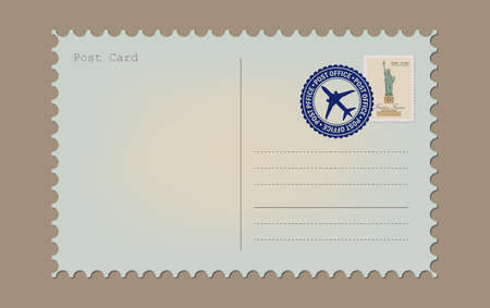 Postal card isolated on white background. Vintage a blank post card. Envelope and stamp. Vettoriali