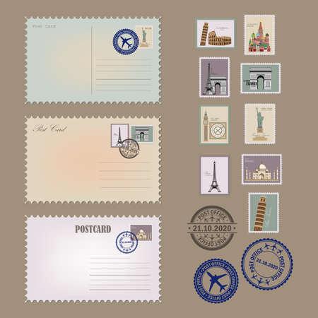 Vintage postcard designs, envelopes and stamps. Postcards collection.