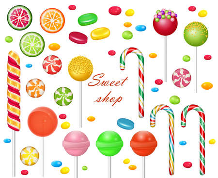 Set of sweets on white background. Candies and snacks. - hard candy, candy cane, lollipop. Vecteurs